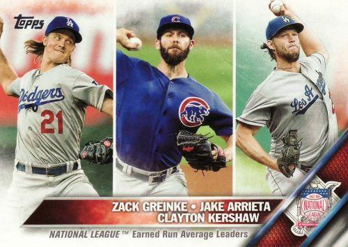 2016 Topps #58 - NL ERA LL - Zack Greinke - Jake Arrieta - Clayton Kershaw