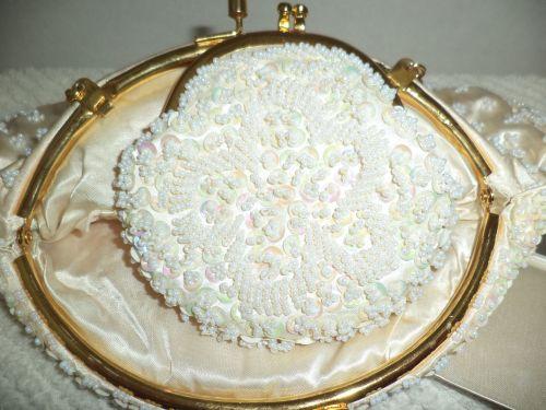 Vintage Beaded Sequins & Pearls Evening Bag