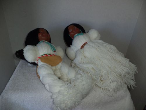 Boy & Girl White American Indian Yarn Dolls