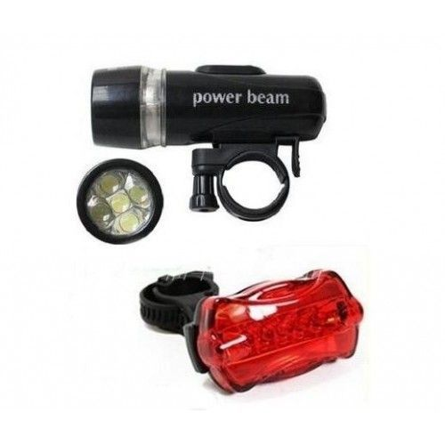 2 In 1 Bicycle LED Super Bright Head Torch Light Lamp & Tail Lamp