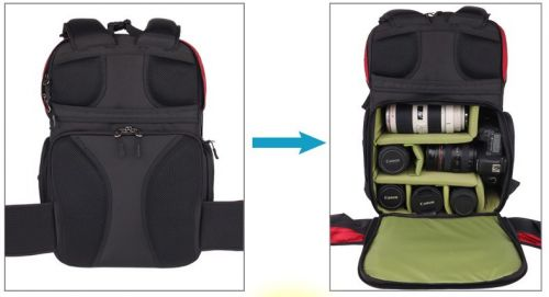 Carrell back-open security capacity SLR Camera Backpack
