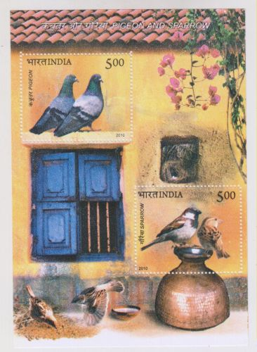 INDIA M/S MINIATURE SHEET PIGEON & SPARROW YR 2010 MNH THEME BIRDS MINT NEVER HINGED
