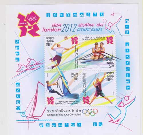 INDIA M/S MINIATURE SHEET LONDON OLYMPIC GAMES YEAR 2012 MNH MINT NEVER HINGED