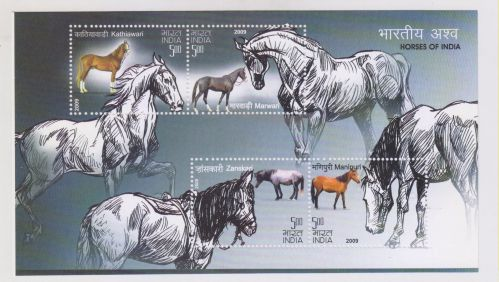 INDIA M/S MINIATURE SHEET ON HORSES OF INDIA YEAR 2009 MNH MINT NEVER HINGED
