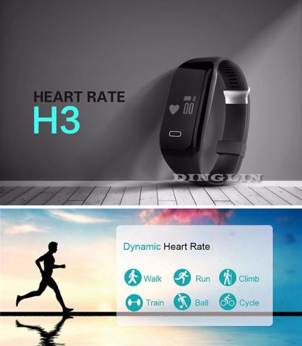 H3 Realtime Smart Heart Rate Monitor Fitness Watch Wristband Pedometer Bracelet