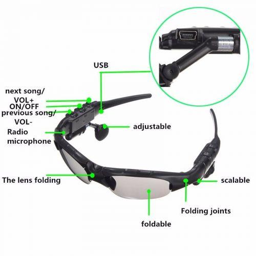 Wireless Stereo Bluetooth Sunglasses Polarized Eyeglasses Headset For Smartphone