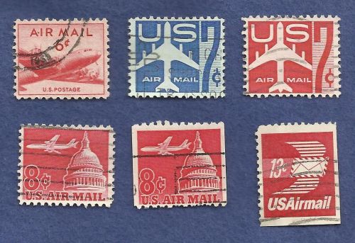 US Airmail Stamp Lot USED (6 Stamps)