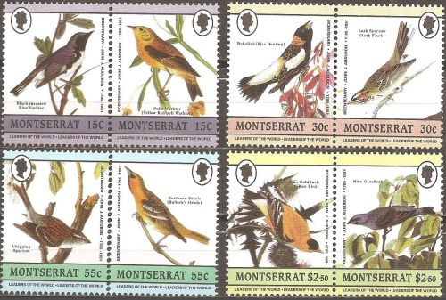 Montserrat: Birds (1985) MNH Complete issue made up of 4 se-tenant pairs