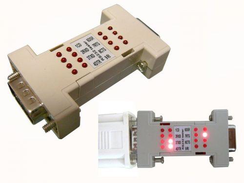 PC Test Serial Port Cable RS232 RS 232 Loopback Loop Back Plug Tester LED Adaptor