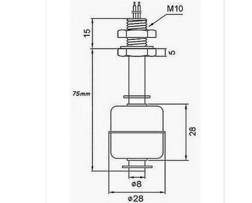 Stainless Steel Liquid Water Level Horizontal Float Sensor Switch 100mm Stroke