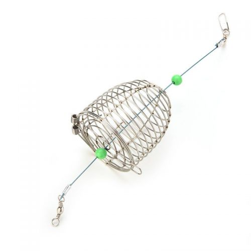 Hot Bait Cage Fishing Trap Basket Feeder Holder Stainless Steel Wire
