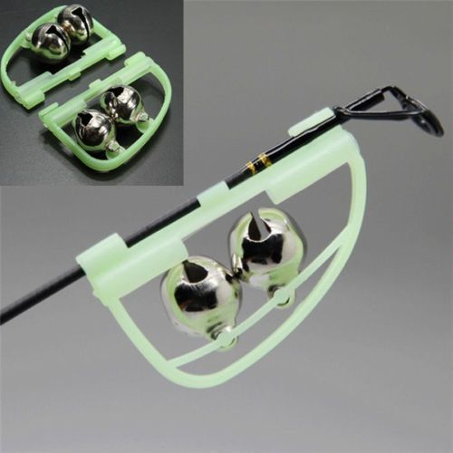 Luminous Light Night Twin Bells Tip Clip On Fishing Rod Bite Alarm
