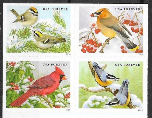 USA 2016 Birds Songbirds in Snow 4v MNH**