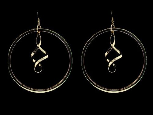 Extra Large Gold Plate Swirling Hoop Earrings