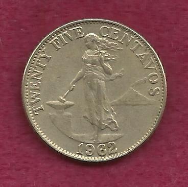 Philippines 25 Centavos 1962 Coin