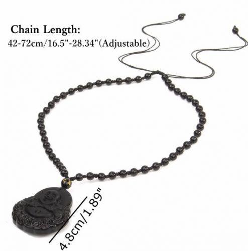 black buddha head charm necklace