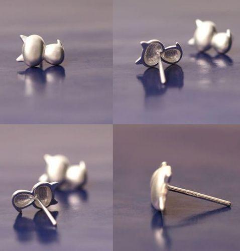925 sterling silver cute cat earring