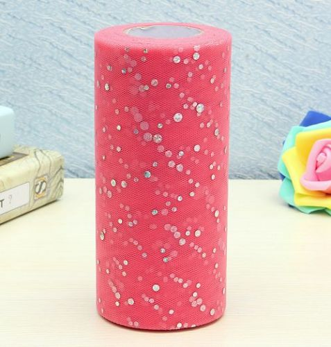 """6""""inch 25 yards tulle 1 roll,sequin pink"""
