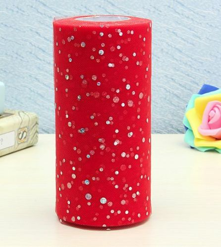 """6""""inch 25 yards tulle 1 roll,sequin red"""