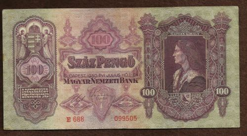 Hungary 100 Pengo 1930 Banknote No E688 099505 King Matyas/Palace Budapest