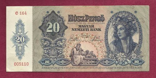 Hungary 20 Pengo 1941 P109 Banknote #005110 -WWII Era Currency - Girl in Costume