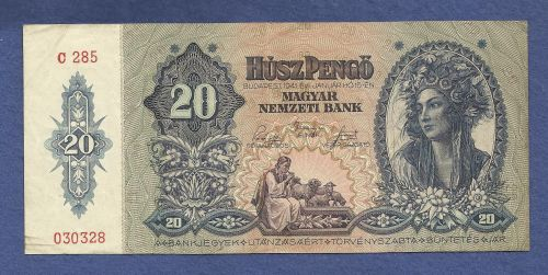 Hungary 20 Pengo 1941 P109 Banknote #030328 -WWII Era Currency - Girl in Costume