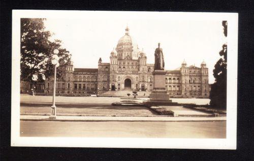 1938 Black And White Photo/The Parliament Building Victoria British Columbia Canada