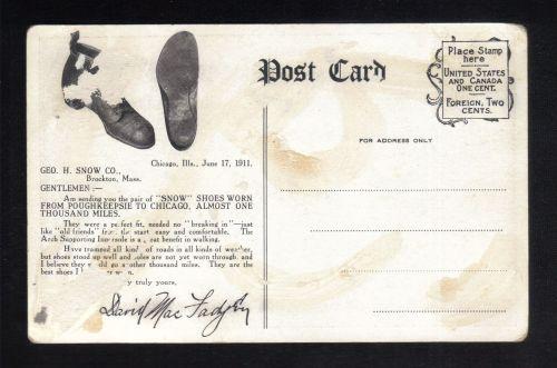 1911 Post Card David MacFadyen Horse &Stage/Coney Island New York To San Francisco Ca