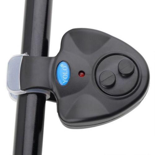 Fish Bite Sound Alarm LED Light Alert Bell Fishing Rod