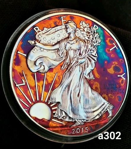 2015 Rainbow Toned Silver American Eagle 1 ounce fine silver uncirculated #a302