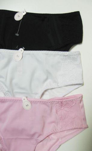 A0044 NEW Floral Embroidered Lace Stretch Microfiber Bikini Black White Pink S M