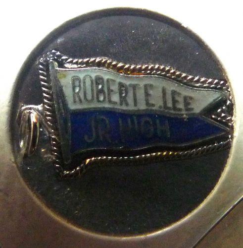 Banner Pennant Charm ROBERT E LEE JR. HIGH - FORT CO. Sterling Silver & Enamel