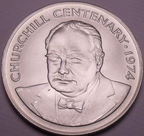 Extremey Rare Gem Unc Silver Cayman Islands 1974 $25~Churchill Centenary~Fr/Ship