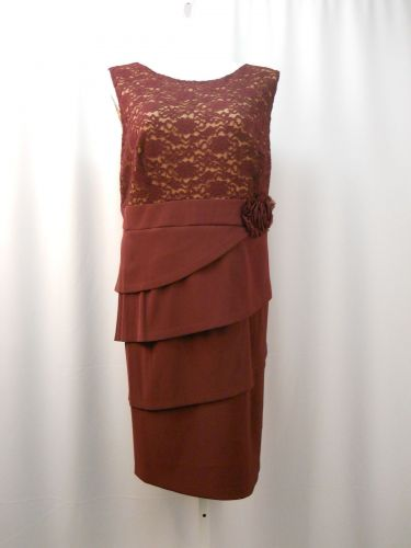 PLUS SIZE 24W Formal Dress CONNECTED APPAREL Burgundy Scoop Neck Sleeveless