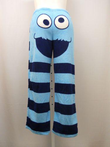 Sesame Street Ladies PJ's Sleep Pants Size L Blue Plush Fleece Sleepwear Bottoms