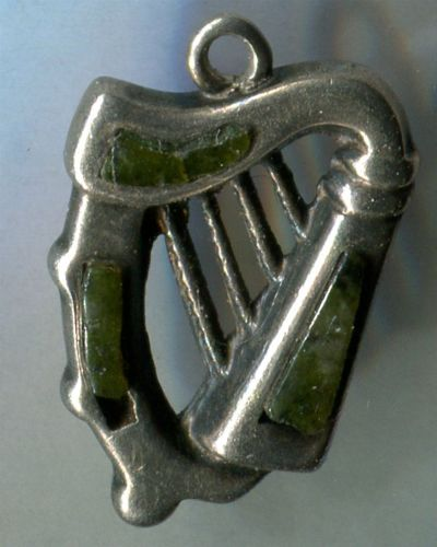 vintage CHARM : HARP w/ INLAID STONES / MARKED MADE IN ENGLAND / NO METAL MARKS