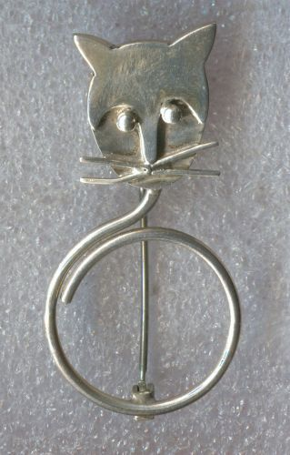 Vintage Whimsical Curley Cat Tail Brooch - Taxco Mexico Sterling Signed TA-109