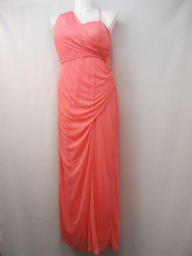 PLUS SIZE 18W Womens Formal Evening Dress ONYX NITE Coral Chiffon Jeweled Ruched