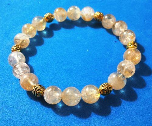 Handmade 0ne-Of-A-Kind Bracelet with Translucent Citrine Beads