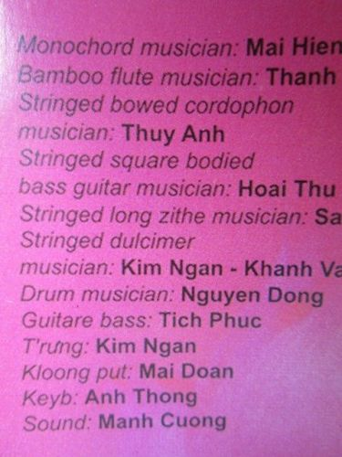 HUONG SEN BAND concerto Northern VIETNAM traditional musical instruments CD Rare