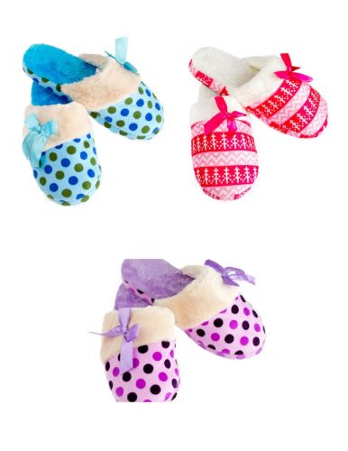 Iris Women's Slippers Size 5-6, 7-8, 9-10 With Satin Bow, Blue, Pink & Purple