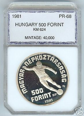 HUGE SILVER PROOF 1981 HUNGARY 500 FORINT, ONLY 40K