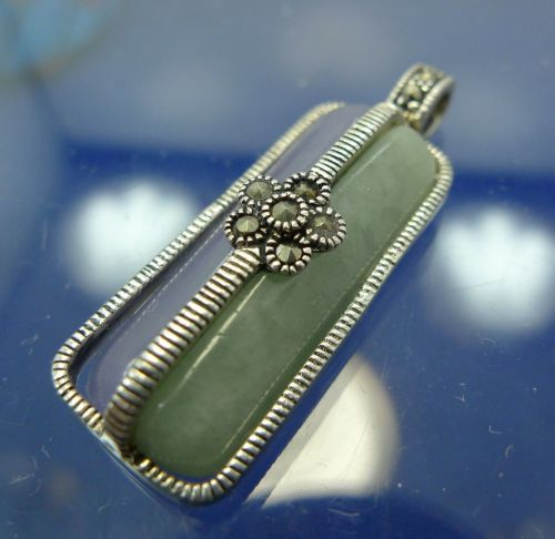 PENDANT: sterling 925 silver 2 COLORS of jade and marcasite signed A 925