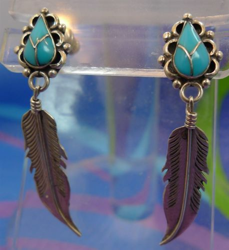 Post Earrings : Turquoise & Feather Tribal Signed Sterling Nelvin Chee - Navajo