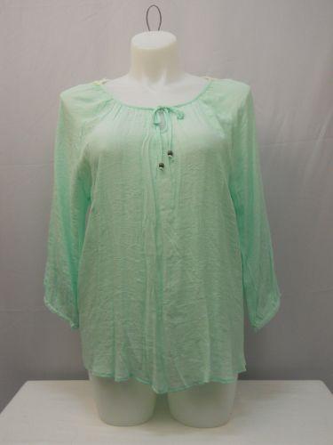 No Boundaries Women's Peasant Top Size XXL Solid Mint Crochet Lace Back Trim