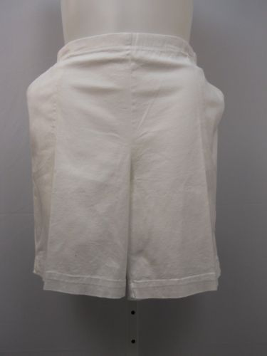 JMS Women's 2 Pocket Casual Shorts Size 4X Solid White Straight Leg Back Elastic