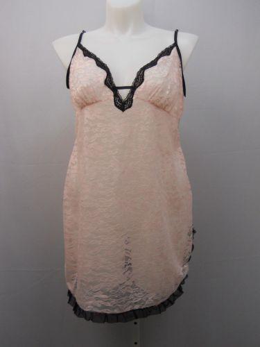 Secret Treasures Women's Floral Lace Chemise Size 2X 18-20 Pink Black Trim Sheer