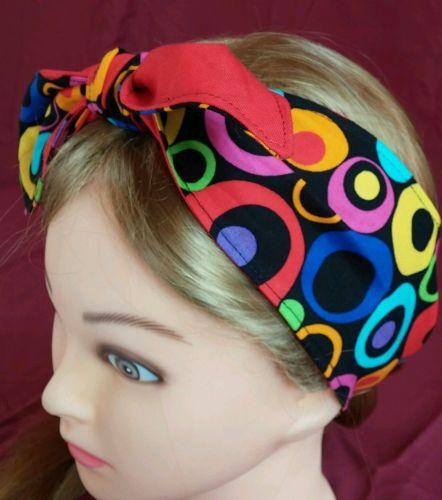 Headband hair wraptie bandanna Circles Bubbles print 100% Cotton Handmade