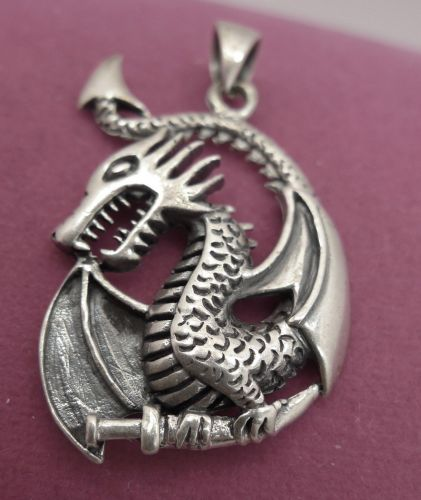 Pendant : Dragon or Serpent Holding a Dagger Sterling 925 Silver FREE shipping