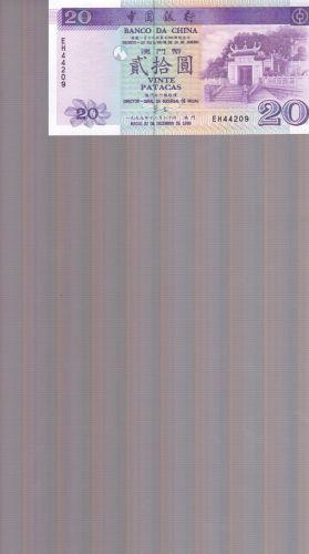 Macau 1999 BOC Bank of China 20 Patacas Banknote Temple UNC Uncirculated